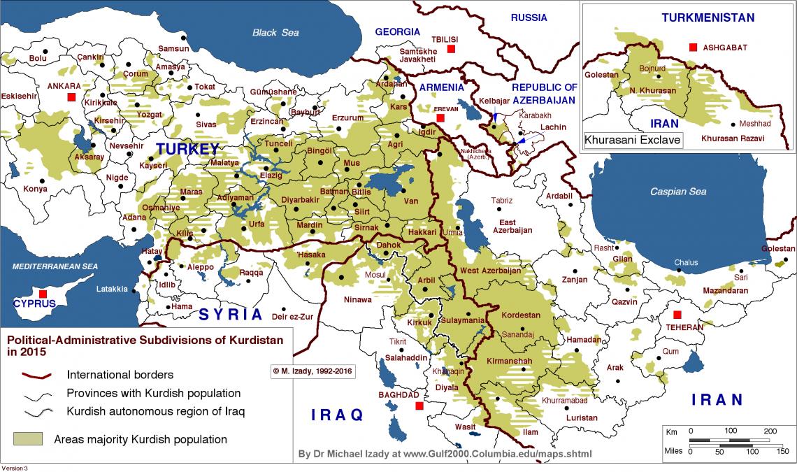 Political-Administrative Subdivisions of Kurdistan in 2015